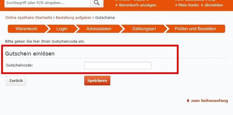 Abonnement Gutscheincode speichern