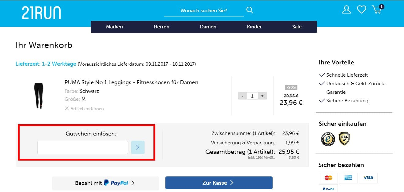 ≫ 21Run Gutschein • 10€ Rabatt • Dezember 2018