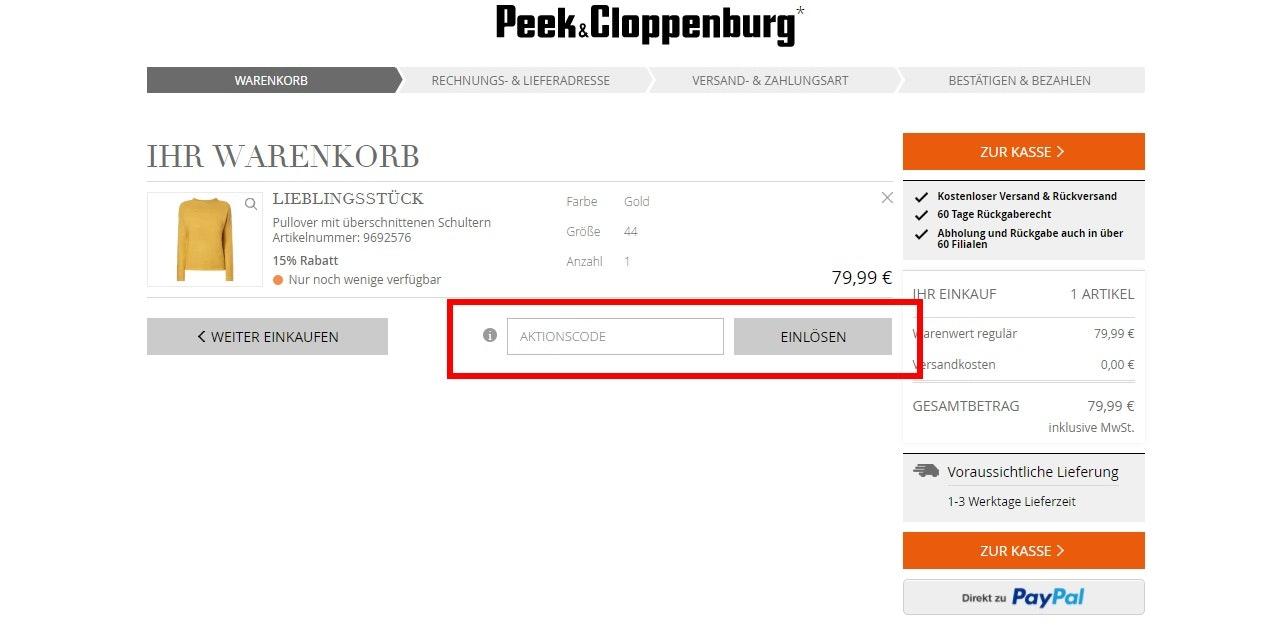 Gutschein Peek Cloppenburg