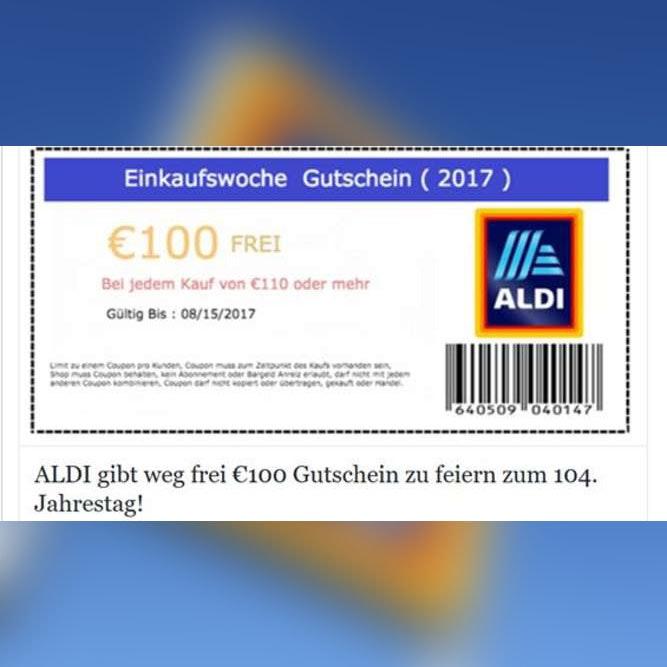 Ist der 100-Euro-Gutschein von Aldi echt, der gerade auf Facebook kursiert?